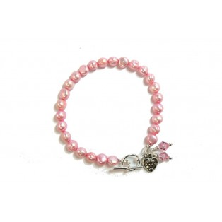 Pretty Dyed Pink Pearl Bracelet with Swarovski Crystals